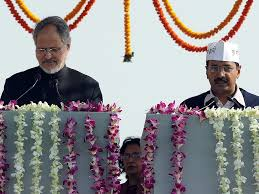 Arvind Kejrival taking oath