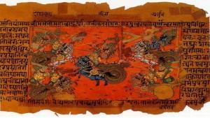 Mahabharata manuscript illustration of the Battle of Kurukshetra