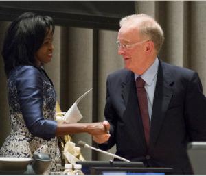 Laureates of the 2015 UN Nelson Rolihlahla Mandela Prize Helena Ndume (left) and Jorge Fernando Branco Sampaio. UN